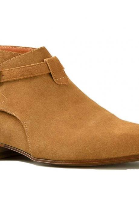 Handmade Men's Camel Colour Suede Half Ankle Narrow Toe Rounded Strap Boots