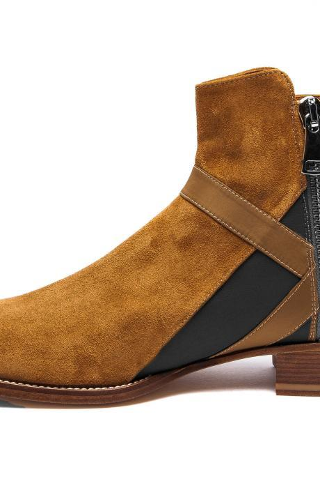 Handmade Black & Brown Leather & Suede Ankle High Chelsea Style Side Zipper Boots For Men's