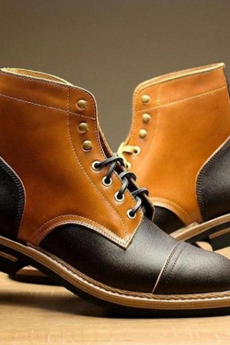 Handmade Ankle High Boot, Men's Tan Brown Black Leather Cap Toe Lace Up Fashion Boot.