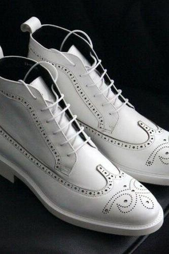 Handmade Ankle High Pure White Leather Lace Up Wing Tip Brogue Boots For Men's