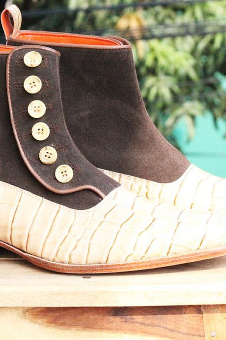 Handmade 2 Tone Brown Suede Leather Button Top Alligator Ankle High Boots for Men's